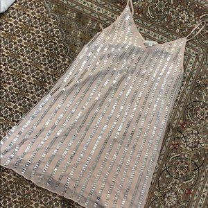 Baby pink and sequin Marciano mini dress. NEW!